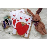 Wooden card with hearts for a loved one