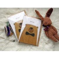 Handmade wooden congratulatory card with funny bear