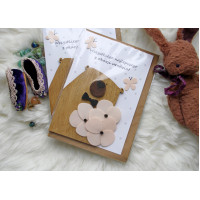 Handmade birthday card with funny bear