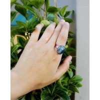 Massive ring with blue agate