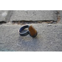Massive ring with natural stone - yellow jasper