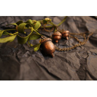 Earrings-acorns, in the technique of electroforming,