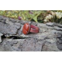 Massive ring with orange agate