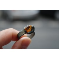 Massive ring with amber