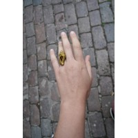 Unusual shell ring, in the color of old gold