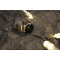 Small ring made of black agate, steel base.