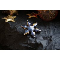 A wooden snowflake-shaped brooch