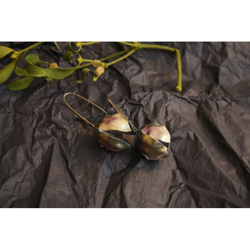 Pink and yellow titanium flower earrings