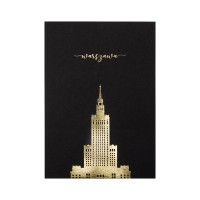 Black postcard with the Palace of culture and science.