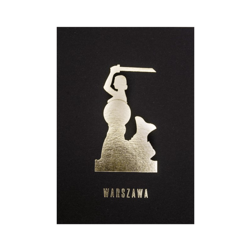 A black postcard with the Warsaw Mermaid