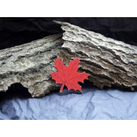 Brooch made of wood, in the form of a maple leaf