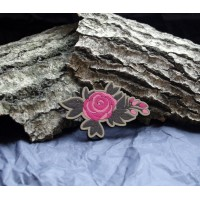 Brooch in the form of sprig of red roses