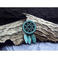 Brooch in the form of a dream catcher, turquoise colour