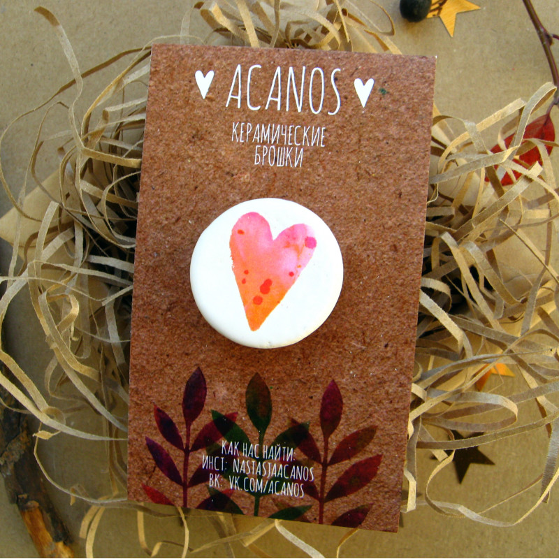 Design brooch with the image of a heart
