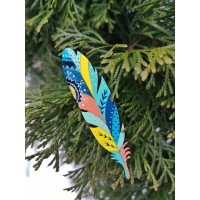 Wooden brooch - bright feather.