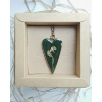 Heart-Shaped Pendant with Dried Flowers