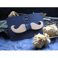 Wooden bow tie in the form of a mustache