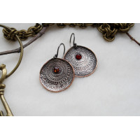 Round, copper and silver plated earrings