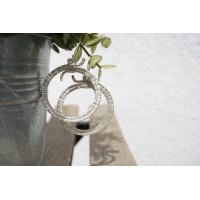Round earrings, silver plated