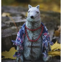 Handmade wolf collectible toy using the teddy technique