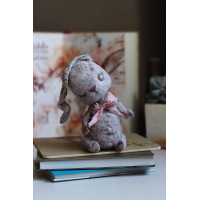 Handmade collectible teddy-doll in the shape of a hare