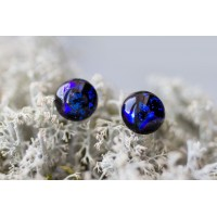 Miniature stud earrings in blue colour