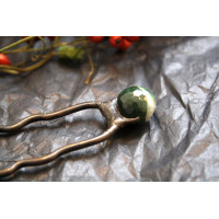 Hairpin with Green agat stone beфd