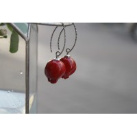 Earrings in the form of pomegranates