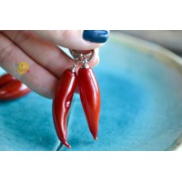 Glass earrings - pods of red pepper