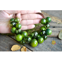 Unique glass  necklace in the form of small green apples