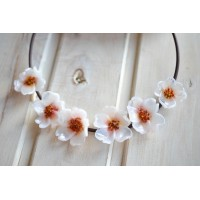 Unique glass  necklace in the form of white flowers