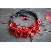 Unique glass  necklace in the form of red poppy flowers